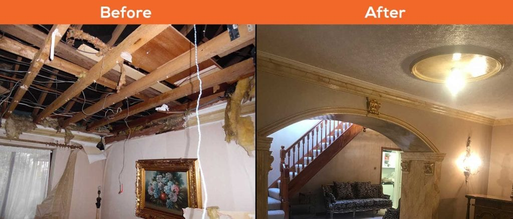 Lancashire Ceiling - Before and After